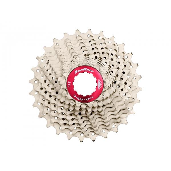 Кассета на 11 звезд 11-28T SUN RACE RX1 алюминиевый паук никелированная