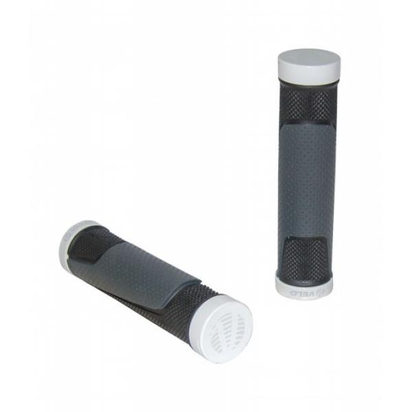 Грипсы Velo VLG-776D3 131 мм с одним белым замком черно-серые