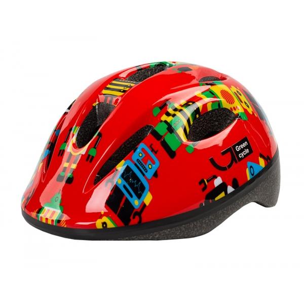 Шлем детский Green Cycle ROBOTS размер 50-54 см красный