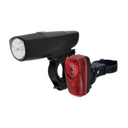 Комплект фонарей передний Longus 1W LED 4 режима задний 0,5W+2LED 3 режима крепление и батарейки в комплекте