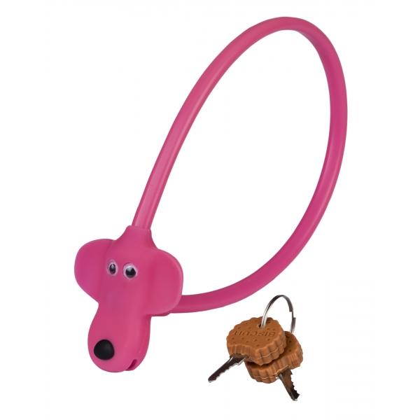 Замок тросиковый дитячий KLS Kiddy розовый 8х450 мм